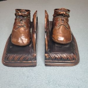 Vintage Pair Bookends 1940's Heirloom Bronzed Baby